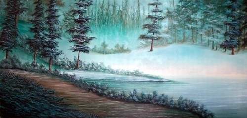 "Winter Pines 2 by Pat Quinn Oil ~ 24"" x 52"""