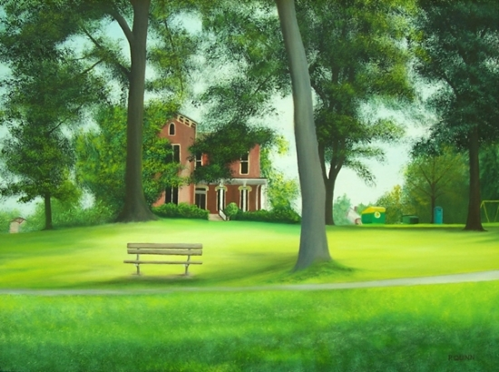 "Bench At Bayne Park by Pat Quinn Oil ~ 18"" x 24"""