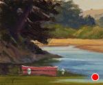 "Red Canoe-Bolinas by Christin Coy Oil ~ 4"" x 5"""