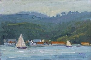 "Sunday Sail SF Bay by Christin Coy Oil ~ 6"" x 9"""