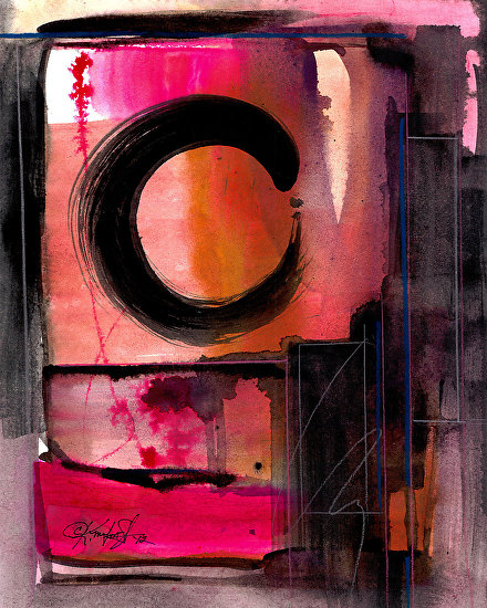 "Enso Abstraction 102 by Kathy Morton Stanion Mixed Water Media ~ 11 3/4"" x 9"""
