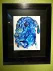 framed pet portrait by V Rae Watercolor ~  x