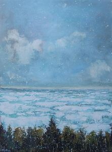 "Cold Expanse by Dan Ryan Mixed Media ~ 30"" x 40"""