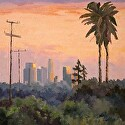 Last Light On The City by Marian Fortunati Oil ~ 12 x 12