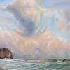 Salmon Seas and Sunset Clouds At Etretat