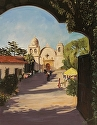 "Morning At The Mission by Marian Fortunati Oil ~ 18"" x 14"""