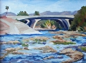 Behind The Dam (Burbank Blvd. Bridge) by Marian Fortunati Oil ~ 9 x 12