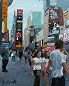 Good Times In Times Square by Marian Fortunati Oil ~ 10 x 8
