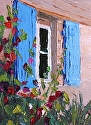 Blue Shuttered Window by Marian Fortunati Oil ~ 8 x 6