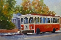 "Trolley Time by Marian Fortunati Oil ~ 12"" x 18"""