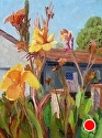 "Canna Lilies and Patriots by Marian Fortunati Oil ~ 12"" x 9"""
