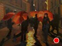 "Red Umbrella Nocturne by Marian Fortunati Oil ~ 9"" x 12"""