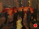 """Red Umbrella Nocturne by Marian Fortunati Oil ~ 9"""" x 12"""""""