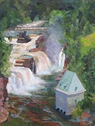 "The Falls At Ausable Chasm    12"" x 9""  O/L"