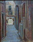 Old Street in Venice by Gladys Roldan-de-Moras Oil ~ 10 x 8
