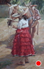 Young Escaramuza by Gladys Roldan-de-Moras Oil ~ 36 x 24