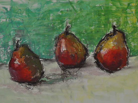 """Three Pears Reflected Color"" - Pastel"