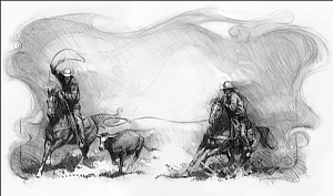 Mixed Team Roping by Steve Atkinson Charcoal ~ 13 x 20