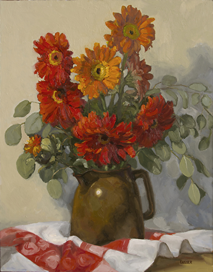 Gerber Daisies in a Brown Pot - Oil