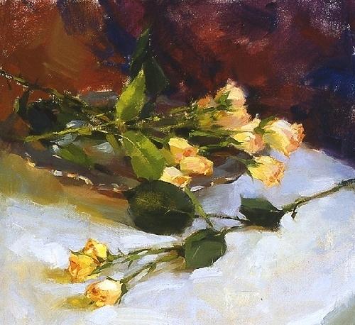 'Les Fleurs Jaune' by Jennifer McChristian Oil ~ 14 x 14