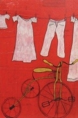 "Clothesline & Yellow Tricycle by Jessica Stoddart Mixed Media ~ 48"" x 32"""