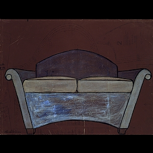 Blue Loveseat by Jessica Stoddart Mixed Media ~ 18