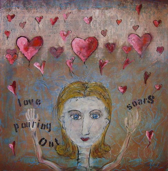 Love Pours - Mixed Media with Oil