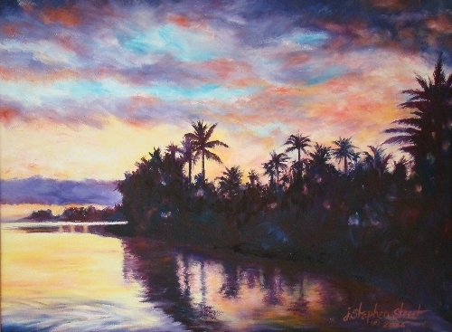"Kahala Beach Sunset by J. Stephen Street Oil ~ 18"" x 24"""