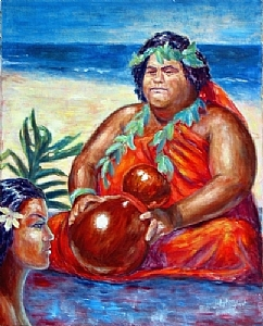 "Kumu Hula by J. Stephen Street Oil ~ 30"" x 24"""