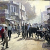 "In Light of India--Agra Street Scene by Ray Hassard Pastel ~ 16"" x 20"""