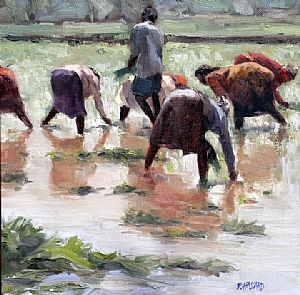 Rice Planters, So. India by Ray Hassard Oil ~ 12 x 12