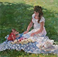 "First Picnic by Abby Warman Oil ~ 24"" x 24"""