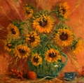 """Sunflowers"" by Abby Warman Oil ~ 30"" x 30"""