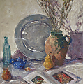 "Still Life in Greys by Abby Warman Oil ~ 30"" x 30"""