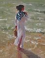 "Striped sweater by Abby Warman Oil ~ 30"" x 24"""
