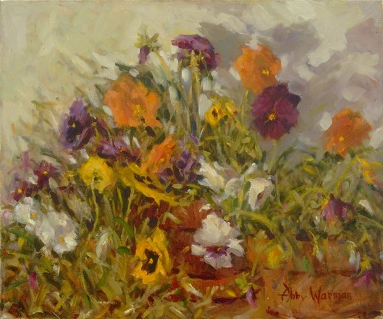 """Dancing Pansies"" by Abby Warman Oil ~ 20"" x 24"""