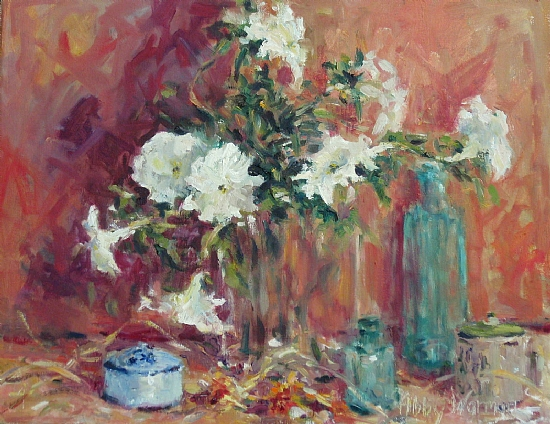 """Petunias"" by Abby Warman Oil ~ 16"" x 20"""
