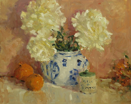 """Pale Peonies"" by Abby Warman Oil ~ 16"" x 20"""