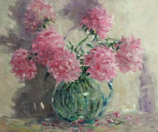 "Peonies in Pink by Abby Warman Oil ~ 20"" x 24"""