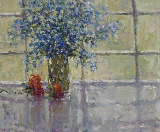 "Blue Wildflowers by Abby Warman Oil ~ 20"" x 24"""