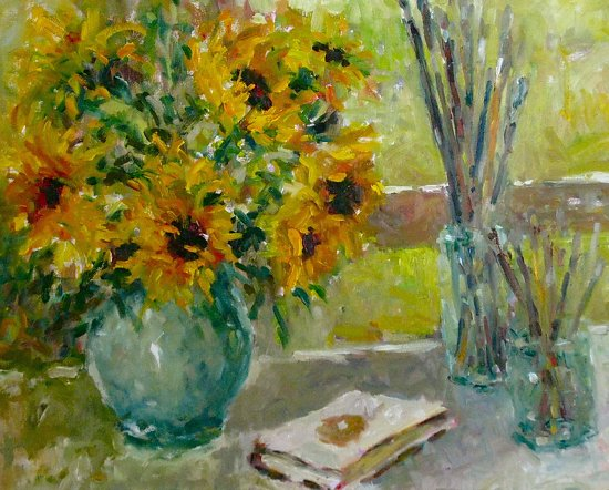 "Sunflowers in Studio Window by Abby Warman Oil ~ 20"" x 24"""