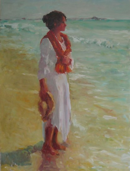 "Near the Pier by Abby Warman Oil ~ 40"" x 30"""