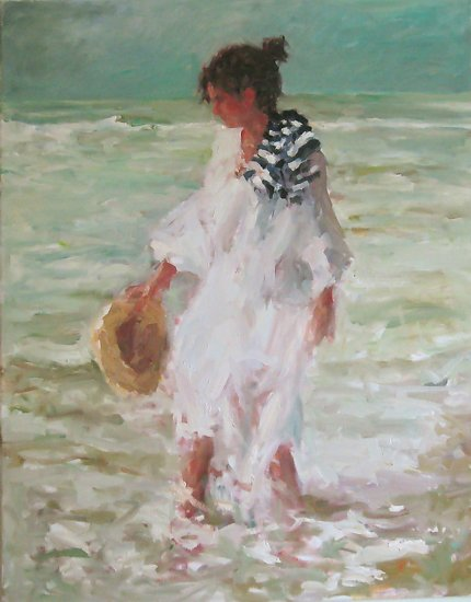 Patterns of the Surf by Abby Warman Oil ~ 30 x -