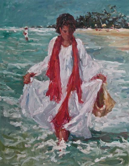 Wading in the Sea by Abby Warman  ~ 40 x -