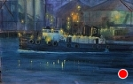 Port of Stockton Nocturne II by Gil Dellinger Acrylic ~ 30 x 48