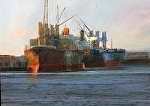 Port of Stockton - 2 ships by Gil Dellinger Acrylic ~ 30 x 40