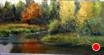 Moose Pond by Gil Dellinger Acrylic ~ 24 x 48