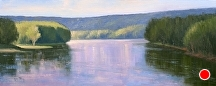 Marine On The St Croix Vista by Kami Mendlik Oil ~ 12 x 30