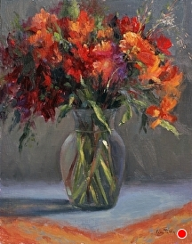 Flowers and Glass by Kami Mendlik Oil ~ 14 x 11