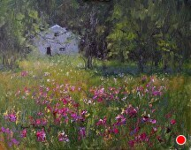 Door County House and Sweet Peas by Kami Mendlik Oil ~ 14 x 11